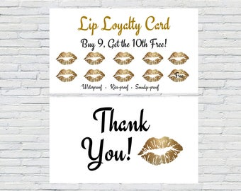 LipSense GoldLip Loyalty Card|Printable|Instant Download|SeneGence Loyalty Card|Purple Glitter Lips|Punch Card|Marketing Material|LipSense