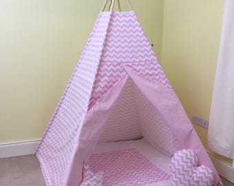 Pink zigzag teepee tent / tipi tentfor kids / girls teepee tent / chevron teepee play tent for children