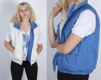 80s Reversible Puffy Vest // Vintage Puffer Ski Jacket Winter Blue White Mens Womens - Large to XL