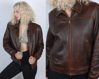 Vintage Wilson's Leather Jacket // 90s Brown Bomber Coat Insulated Womens - Medium to Large