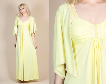 70s Boho Flutter Sleeve Dress - Small // Vintage Yellow Lace Trim Empire Waist Maxi