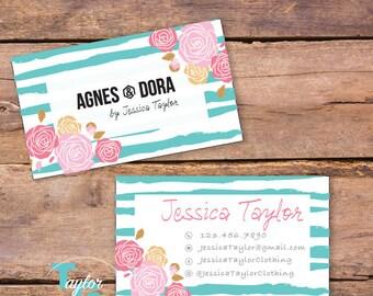 Agnes & Dora Business Card - Agnes and Dora Busines Card - Distressed Floral Business Card - Floral Stripes - Agnes and Dora Marketing