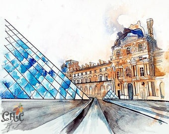 Louvre museum Paris french splash art collectible Fine art Print FROM original watercolor by Jennifer Redstreake