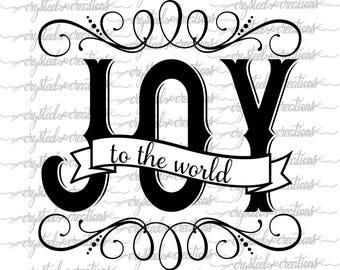 Joy to the World SVG, PNG, Christmas SVG, Silhouette, Cricut, Joy, Script Font, Shadow Font
