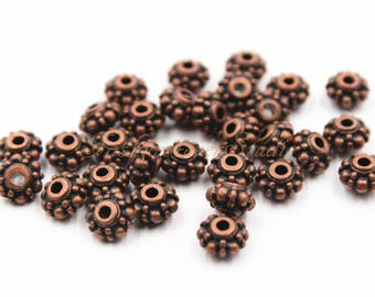 30pcs Antique Copper Tone Base Metal Beads 4mmx7mm, Copper Beads, Jewelry Findings, Beading Suppliers, Jewelry Suppliers