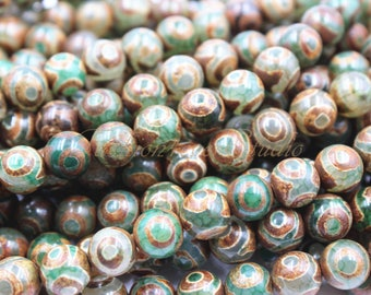 Tibetan Agate Stone Beads, 8mm 10mm Full Strand 15.5 inches, Gemstone Beads, Beading Suppliers, Jewelry Suppliers
