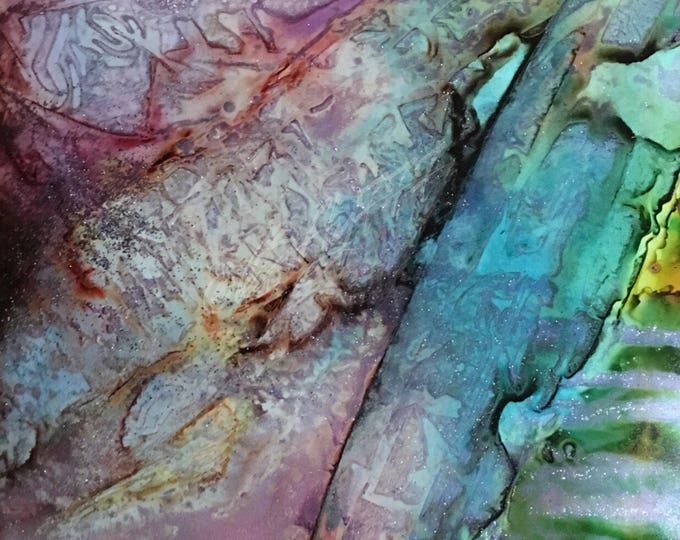 "Original Alcohol Ink Abstract Painting: ""Light Crystals"""