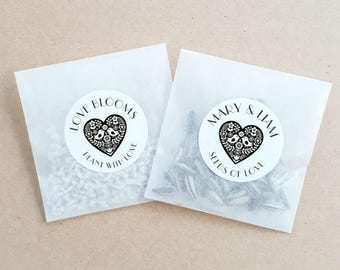 Personalised Seed Packet Favours Love Heart Weddings Showers Bomboniere Bridal Bonbonniere Sunflower Daisy x 20