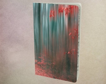 Lined Notebook Magical Forest, Ruled Red & Teal Journal, Faerie Woods, Autumn Path, Abstract Photo Artwork, Surreal Landscape, Diary