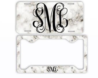 White Marble Look License Plate Car Tag Monogram Frame Personalized Set Custom Initials Car Coasters