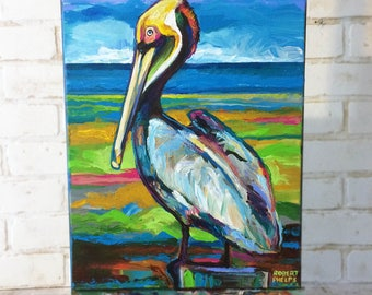 "11"" by 14"" Pelican Painting by Robert Phelps-pelican art, beach decor, beach art, pelicans, animal art, bird art, bird painting, Florida art"