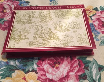 Vintage Toile Scented Drawer Liners From Scentennials? 6 Sheets, Light Green