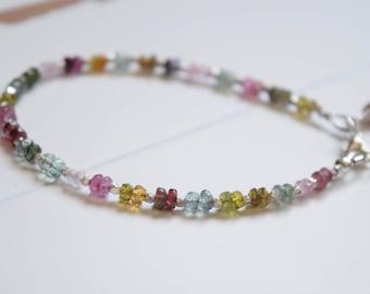 Tourmaline Bracelet ~ Dainty Watermelon Tourmaline Bracelet~ Stacking Bracelets~ AAA Gemstone Bracelet