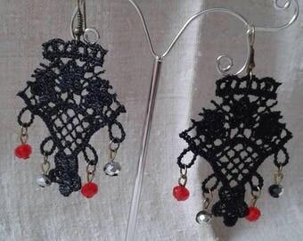 "Earrings ""Black Lace applique"""