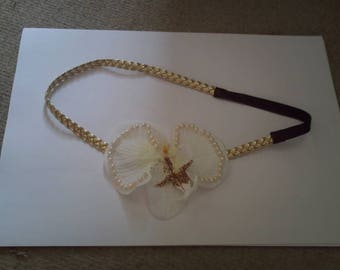 pretty gold headband and white Orchid