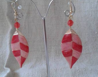 """pretty red leaf"" earrings"