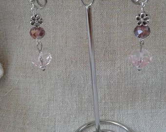 Pink faceted beads earrings