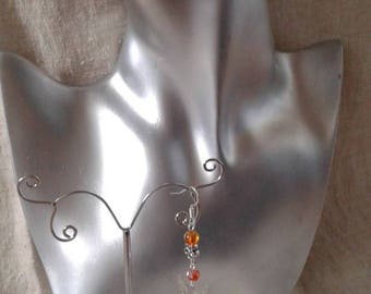Butterfly and orange beads earrings