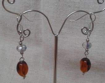 """olive brown Pearl"" earrings"