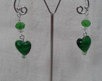 """Earrings """"pretty little green heart"""""""