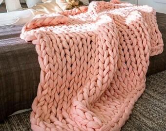 Chunky knit blanket, Merino wool blanket, Chunky wool blanket , chunky yarn, Wool blanket, Arm knit blanket, knit bedspread, giant knit yarn