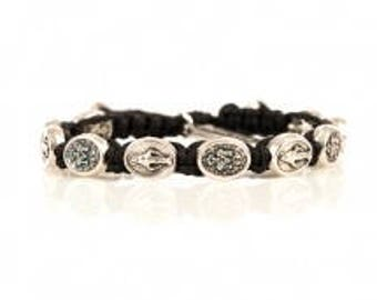 Blessing bracelet with Miraculous Mary - Black with silver medals