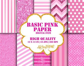 Basic Pink Paper, Digital Pink Paper, Pink patterns, Pink Dots Paper, Pink Glietter Paper, Pink Strips Paper Pack, Strips pattern, Glitter