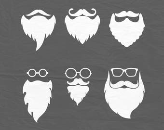 Hipster style Santa Claus svg, Santa Claus beard svg, Santa Face, Beard svg, VG DXF DXF download, Santa beard designs