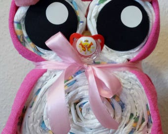 Diaper cake * OWL * gift to to the birth/christening/birthday/baby shower