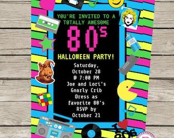 80er Jahre Achtziger Jahre Halloween Oder Geburtstag Party Einladung  Madonna Alf Pac Mann Handy Kassette