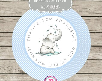 Thanks for showering our little Peanut Stickers Party Labels Favor Tags Treat Bags Baby Shower Personalized Thank You Tags Elephant Blue Boy