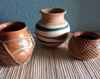 Set of three small pots, set of three small vases