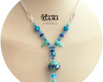 One-off Funky Ocean Hued Lampword Focal Drop Necklace, Boho Beach Babe Necklace