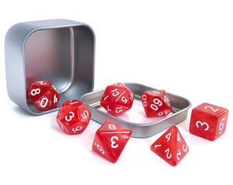 Red Marble Polyhedral Dice Set