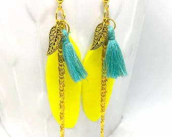 Earrings turquoise/golden yellow feather