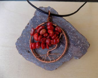Red Coral Tree of Life Pendant - Tree of Life Necklace - red coral Jewelry - Tree of Life - Handmade Wire Wrapped Pendant - Gifts for Her