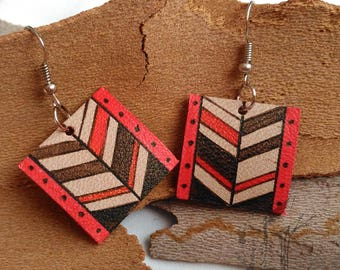 Leather earring. Ethnic design. Hand painted