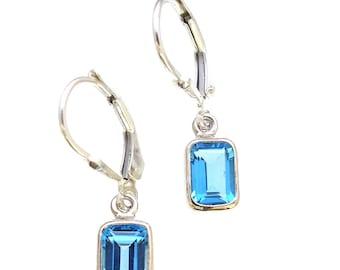 Handmade in Bali Sterling Silver Genuine Blue Topaz Earrings Leverbacks Gemstone Jewelry Swiss Blue Topaz Dainty Jewelry Gift Jewelry