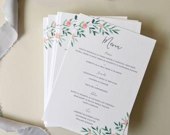 Leafy Green Botanical Wedding Menu -  Peach Floral Wedding Menu - Rustic Wedding Reception Decor