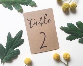 Printable Table Numbers - Recycled Kraft Brown - Rustic Wedding - Calligraphy - PDF