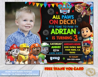 Paw Patrol Birthday Invitation.Paw Patrol Invitation.Paw Patrol.Photo Invitation.Invitations.Paw Patrol Party.DIY.Paw Patrol Birthday Theme.