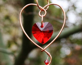 Bleeding heart necklace, copper necklace, red, swarovski, crystal, wire, leather, cord, pendant, choker, copper pendant,