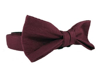 Maroon Dog Wedding Collar - Dog Collar With Bow Tie - Dog Wedding Outfits - Dog Formal Wear - Wine Solid Color Dog Collar - Oh My Paw'd