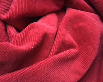 Vintage ruby red corduroy cotton fabric