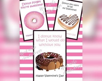 Printable Donut Valentine's Day