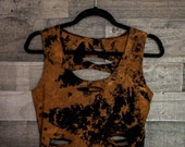 Bleached crop top - Distressed shirt - Custom shirt - Reworked tee - Vintage inspired - Edgy clothing - Shredded Dreams - Women's Small