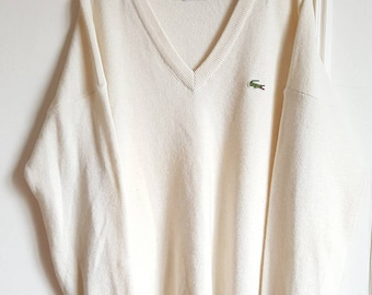 51% wool Made 80-90 years Vintage Lacoste sweater in France size 5 (L) like new.