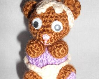 Brown cupcake bear crochet