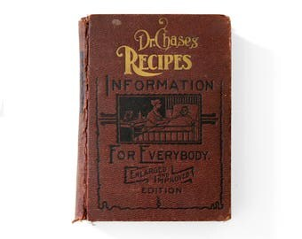 Medicine Recipes Victorian Book, Dr Chases Recipes, Information For Everybody, Antique 1900s Book, Vintage Practical Recipes, Home Remedies