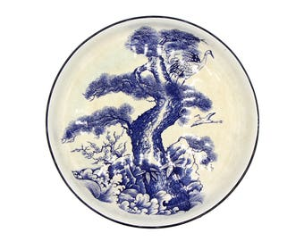 Antique 1900s Bowl, Cranes and Pine Tree, Blue and White Bowl, Imari Arita Large Bowl, Antique Japan Home Decor, Japanese Porcelain Bowl